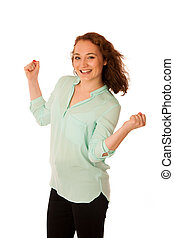 Business woman holds hands in the air as a gesture of great...
