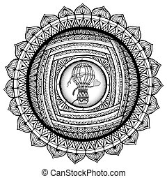 Black and white mandala, coloring book pages for adults,...