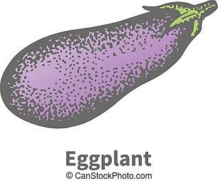 Vector illustration hand-drawn mature big eggplant - Vector...