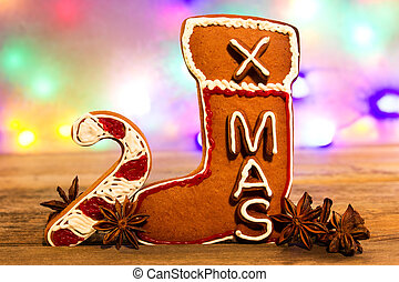 Gingerbread x-mas - A sugar stick and a gingerbread boot in...
