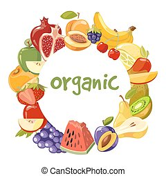 Vector organic fruits frame isolated