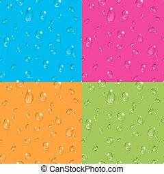 Set of transparent water drops vector seamless backgrounds