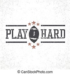 Play Hard American Football Stamp Illustration