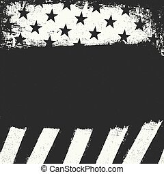 Empty black grunge copy space on black and white negative american flag background. Patriotic design template.