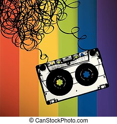 Audiocassette tape with tangled. On rainbow stripes background