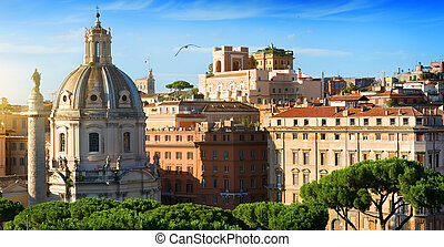 View on Trajan Forum - View on basilica and statue on Trajan...