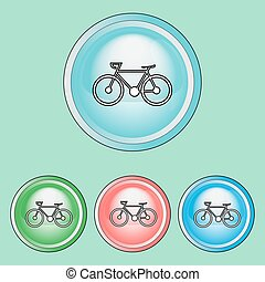 Ecology Icons Set. Bicycle. Healthy transport concept