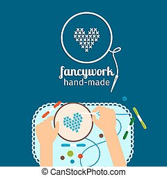 Kids handmade illustration. Fancywork - Kids handmade vector...