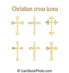 Golden cross icons set