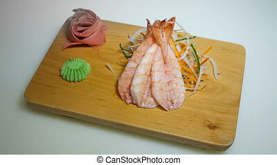 sashimi shrimp slices - sashimi shrimp acne slices on white...
