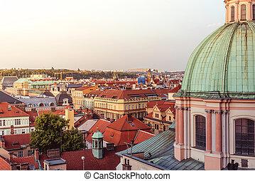View pf Prague cityscape with copyspace. Czech Republic.