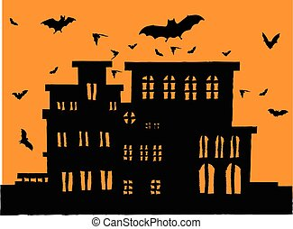 scary mansion with bats