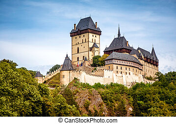Royal Castle Karlstejn. Central Bohemia, Karlstejn village,...