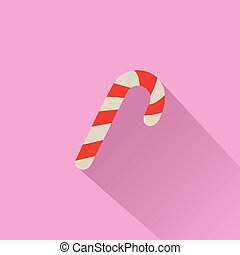 Candy Cane on Pink Background