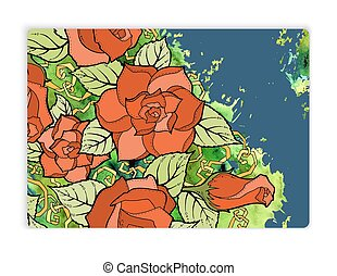 Vintage pattern with roses and watercolor design for greeting card.