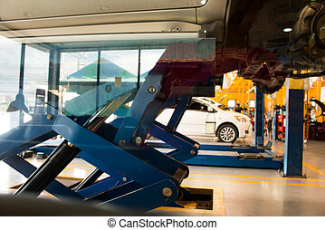 Wheel alignment at repair service station,Car service