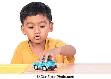 藍色, 2UTE, 很少, 玩具, 男孩, 汽車, 亞洲人, 孩子, 學齡前儿童, 玩, 孩子