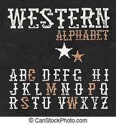 Western alphabet. On the blackboard background. Vintage letters. For labels and any type retro designs