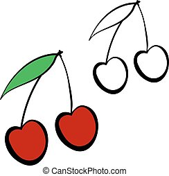 Red cherry cartoon. - Yummy fruits. Red cherry. Healthy...
