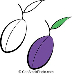 Purple vector plums. - Yummy fruits. Purple plums. Healthy...