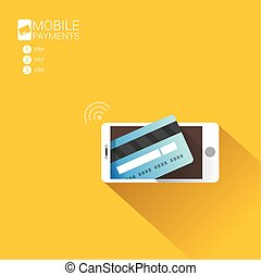 Flsmartphone processing of mobile payments - Flat design...