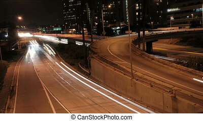 TRN-0001-LA Night Traffic 1mov - This is a downtown Los...