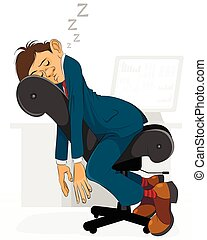 Businessman falls asleep - Vector illustration of a...