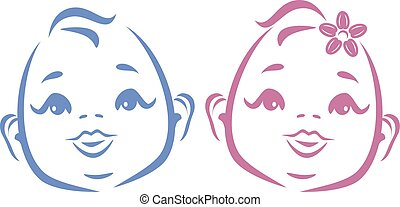 Cute twins. Outline drawing. Vector illustration