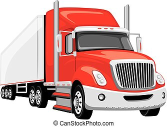 Red semi truck. Vector illustration
