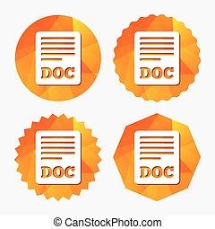 File document icon Download doc button Doc file symbol...