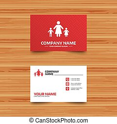 One-parent family with two children sign icon - Business...