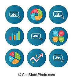 Top-level domains signs. De, It, Es and Fr. - Business pie...
