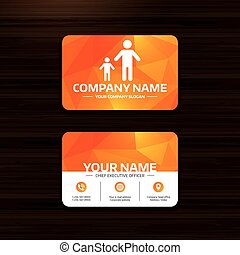 One-parent family with one child sign icon. - Business or...