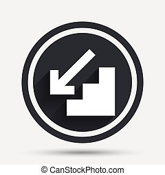 Downstairs icon. Down arrow sign. Circle flat button with...