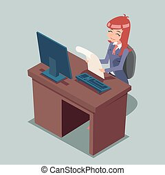 Businessman at Desk Working on Computer Cartoon Characters Icon Retro  Design Vector Illustration
