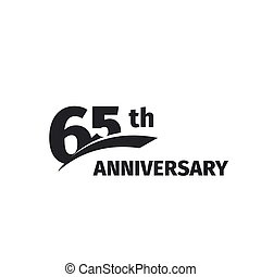 Isolated abstract black 65th anniversary logo on white...