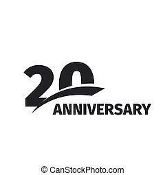 Isolated abstract black 20th anniversary logo on white...