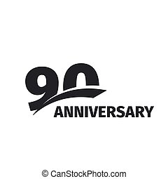 Isolated abstract black 90th anniversary logo on white...