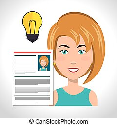 woman and curriculum vitae - avatar woman smiling with...