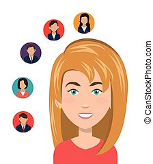 human resources design - avatar woman smiling with human...