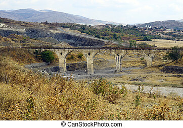 Bulgaria, 1609-62 - Bulgaria, railway bridge along dry...