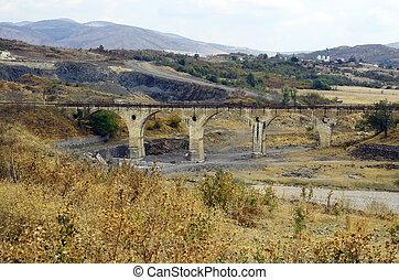 Bulgaria, 1609-62 - Bulgaria, railway bridge along dry...