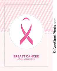 Breast cancer awareness card. Pink ribbon campaign - Breast...