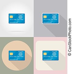bank card flat icons vector illustration isolated on...