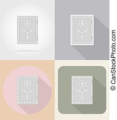 safe with combination lock flat icons vector illustration