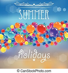 Baloons on the summer background with flares. Colorful...