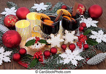 Festive Christmas Scene - Christmas party food and drink...