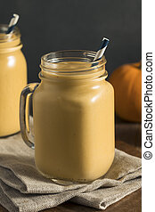 Healhty Organic Pumpkin Smoothie with Yogurt and Bananas