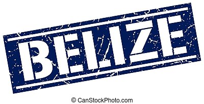 Belize blue square stamp