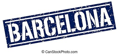 Barcelona blue square stamp